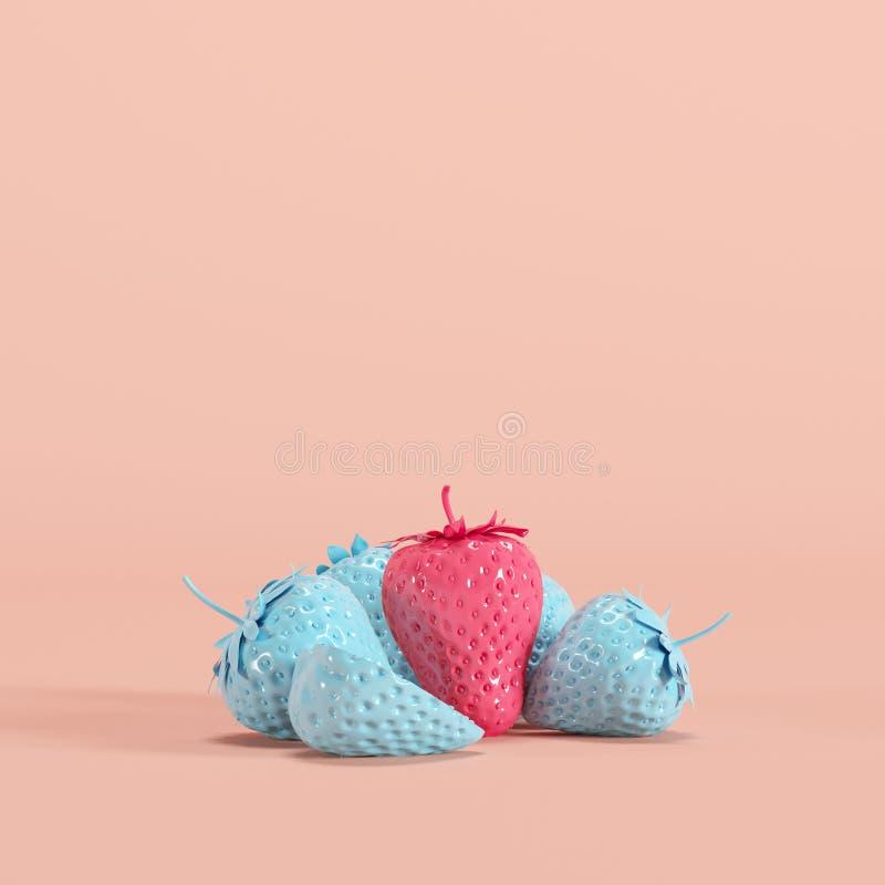 Σημαντική ρόδινη χρωματισμένη φράουλα μεταξύ των μπλε χρωματισμένων φραουλών στο ρόδινο υπόβαθρο κρητιδογραφιών στοκ φωτογραφία με δικαίωμα ελεύθερης χρήσης