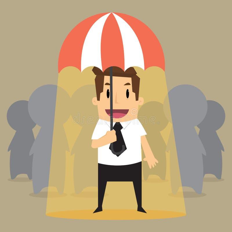 Σημαντικός επιχειρηματίας στον εργαζόμενο διανυσματική απεικόνιση