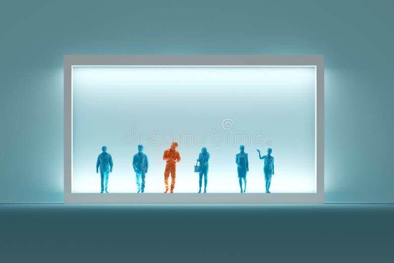 Σημαντικό άτομο στο πορτοκάλι που στέκεται μεταξύ των ανθρώπων στο μπλε με τα άσπρα σύνορα στο μπλε υπόβαθρο στοκ φωτογραφίες