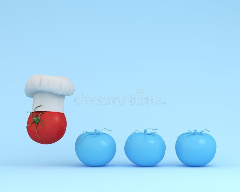 Σημαντικό καπέλο αρχιμαγείρων με την ντομάτα που επιπλέει με την μπλε ντομάτα στο PA στοκ εικόνα με δικαίωμα ελεύθερης χρήσης