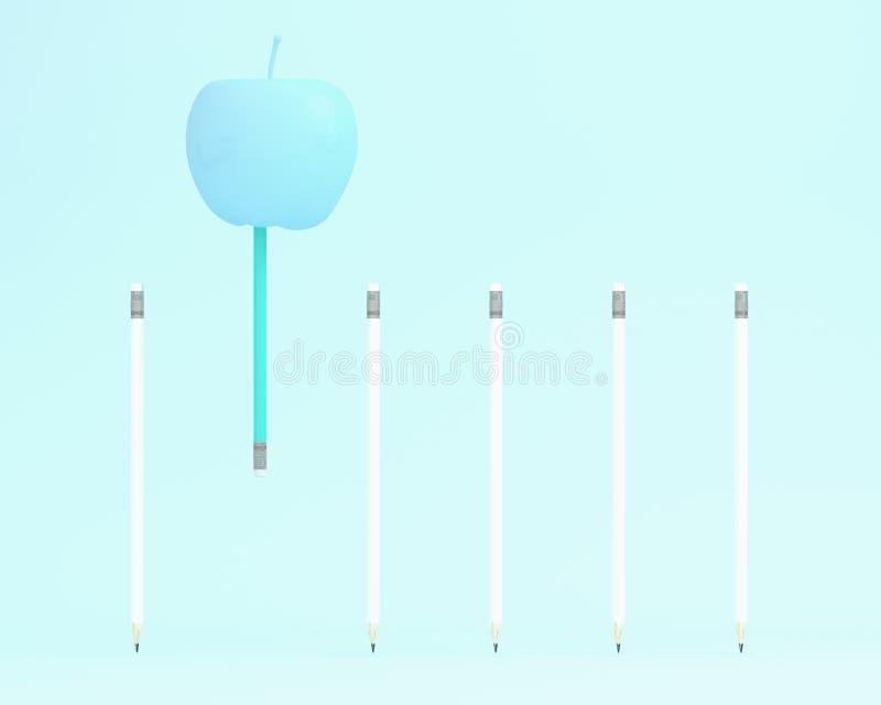 Σημαντικό μπλε μολύβι που επιπλέει με το μήλο στο μπλε χρώμα backgr ελεύθερη απεικόνιση δικαιώματος