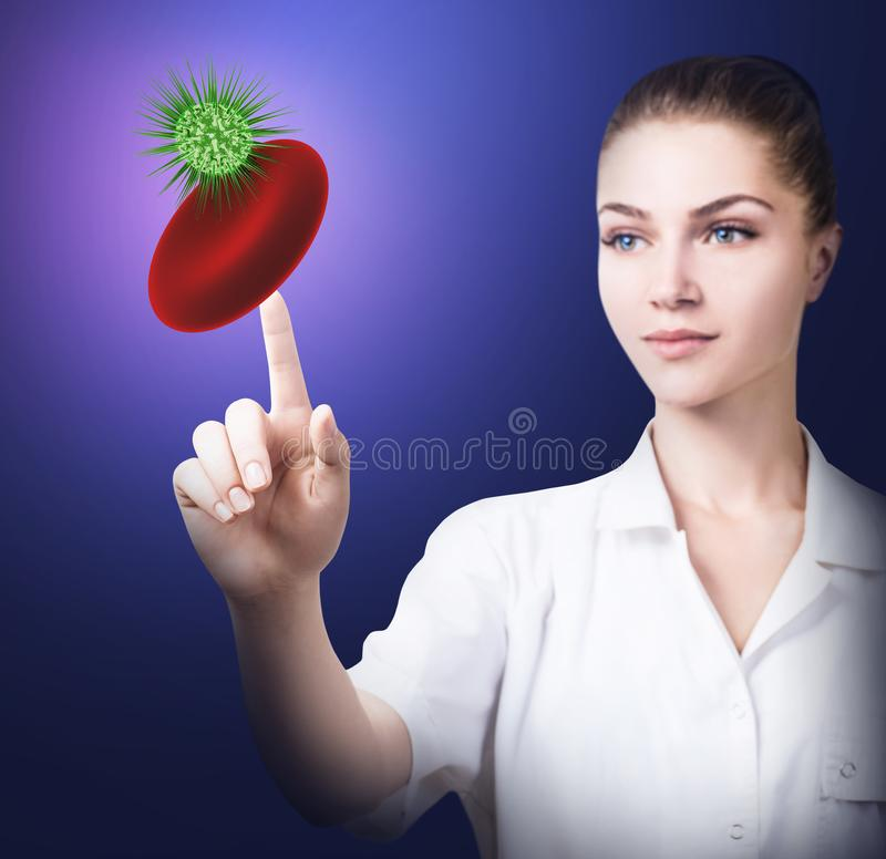 Σημείο γιατρών στο ερυθροκύτταρο με το προερχόμενο από ιό κύτταρο στοκ φωτογραφία με δικαίωμα ελεύθερης χρήσης