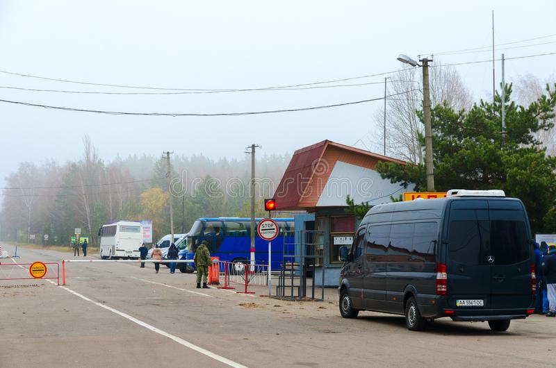 Σημείο ελέγχου Dityatki στη ζώνη αποκλεισμού του πυρηνικού σταθμού του Τσέρνομπιλ, Ουκρανία στοκ φωτογραφία με δικαίωμα ελεύθερης χρήσης