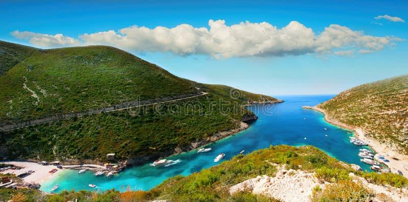 Σημείο Ελλάδα, Πόρτο Vromi επίσκεψης νησιών της Ζάκυνθου Panoram στοκ εικόνα