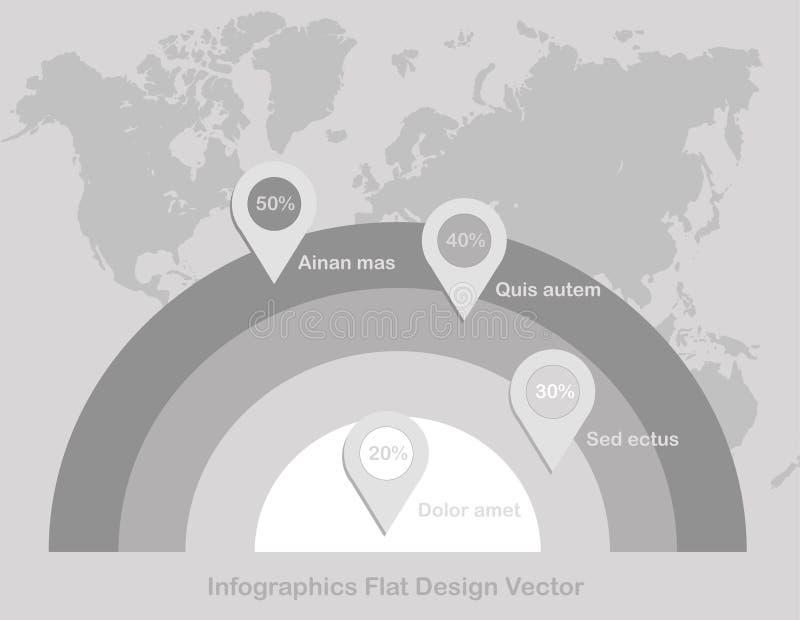 Σημείο κύκλων Infographics στον παγκόσμιο χάρτη στο άσπρο γκρι εγγράφου υποβάθρου διανυσματική απεικόνιση