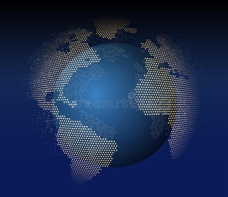 Σημείο παγκόσμιων χαρτών, γραμμή, σύνθεση, που αντιπροσωπεύει τη σφαιρική, σύνδεση παγκόσμιων δικτύων, διεθνής έννοια διανυσματική απεικόνιση