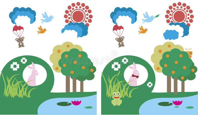 Σημείο παιχνιδιών παιδιών οι διαφορές διανυσματική απεικόνιση