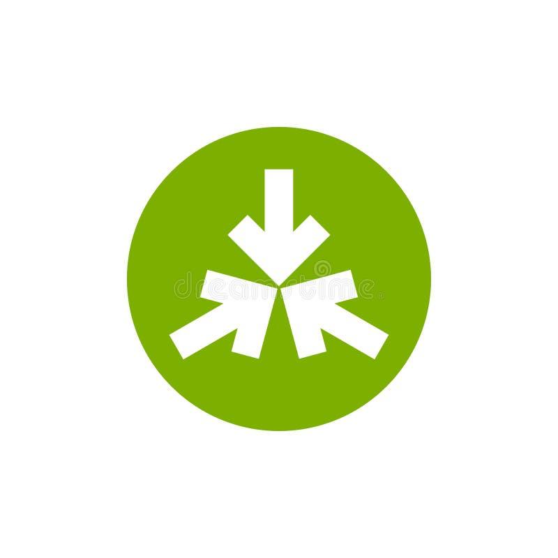 Σημείο τριών άσπρο βελών στο κέντρο στον πράσινο κύκλο Το τριπλάσιο συγκρούεται εικονίδιο βελών Εικονίδιο κατευθύνσεων συγχώνευση απεικόνιση αποθεμάτων
