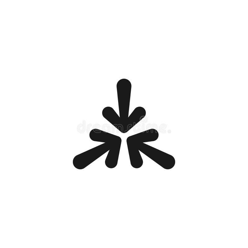 Σημείο τριών μαύρο στρογγυλευμένο βελών κινούμενων σχεδίων στο κέντρο Το τριπλάσιο συγκρούεται εικονίδιο βελών Εικονίδιο κατευθύν διανυσματική απεικόνιση