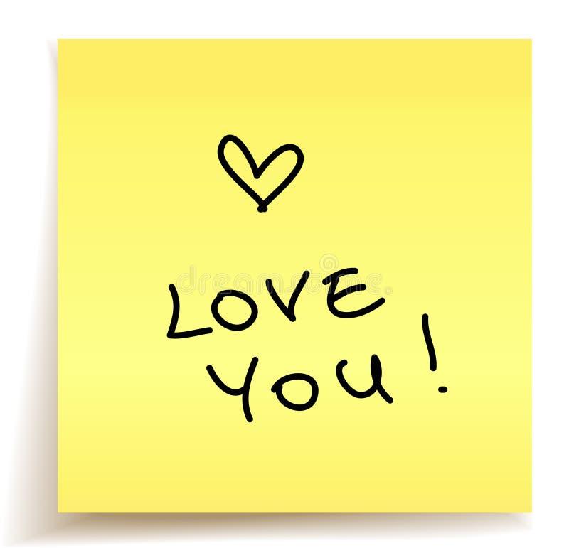 σημείωση αγάπης εσείς διανυσματική απεικόνιση