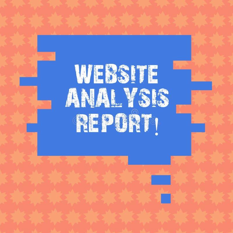 Σημείωση γραψίματος που παρουσιάζει έκθεση ανάλυσης ιστοχώρου Διαδικασία επίδειξης επιχειρησιακών φωτογραφιών τη συμπεριφορά του  διανυσματική απεικόνιση