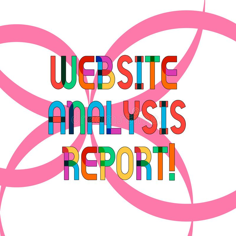 Σημείωση γραψίματος που παρουσιάζει έκθεση ανάλυσης ιστοχώρου Διαδικασία επίδειξης επιχειρησιακών φωτογραφιών τη συμπεριφορά του  ελεύθερη απεικόνιση δικαιώματος