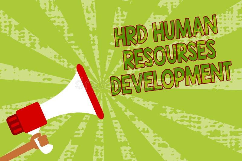 Σημείωση γραψίματος που παρουσιάζει ανάπτυξη ανθρώπινων δυναμικών HRD Επιχειρησιακή φωτογραφία που επιδεικνύει βοηθώντας τους υπα διανυσματική απεικόνιση