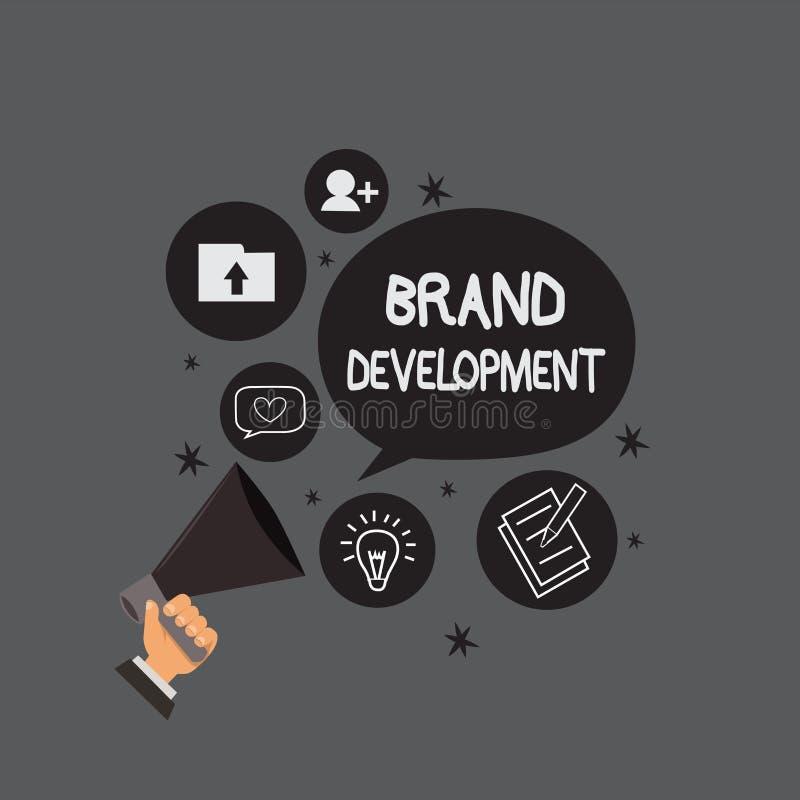 Σημείωση γραψίματος που παρουσιάζει ανάπτυξη εμπορικών σημάτων Επιχειρησιακή φωτογραφία που επιδεικνύει καθορίζοντας το προϊόν γι ελεύθερη απεικόνιση δικαιώματος
