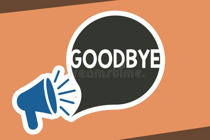 Σημείωση γραψίματος που παρουσιάζει αντίο Ο χαιρετισμός επίδειξης επιχειρησιακών φωτογραφιών για την αναχώρηση αποχαιρετιστήριος  ελεύθερη απεικόνιση δικαιώματος