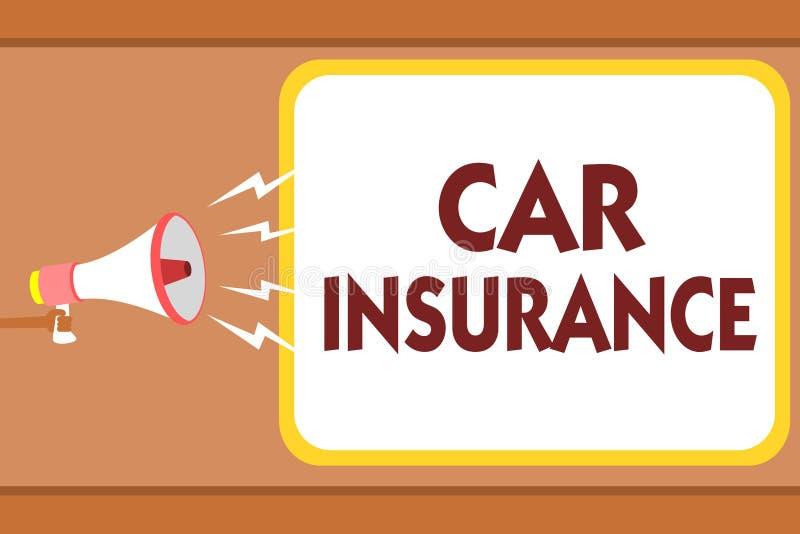 Σημείωση γραψίματος που παρουσιάζει ασφάλεια αυτοκινήτου Επιχειρησιακών φωτογραφιών επιδεικνύοντας ατυχημάτων άτομο χ εγγύησης πο απεικόνιση αποθεμάτων