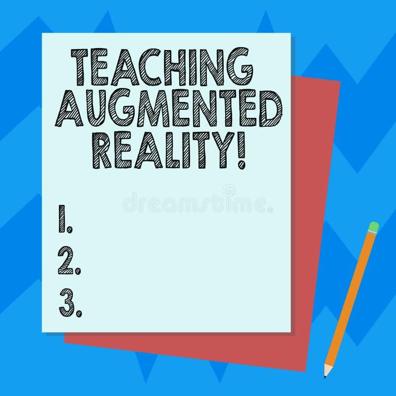 Σημείωση γραψίματος που παρουσιάζει αυξημένη διδασκαλία πραγματικότητα Επιχειρησιακή φωτογραφία που επιδεικνύει τη χρήση του AR a διανυσματική απεικόνιση