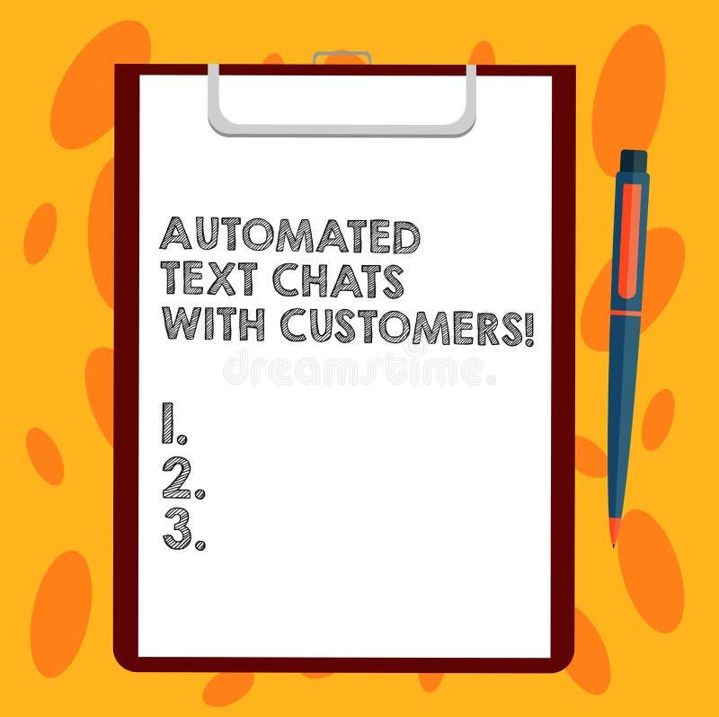 Σημείωση γραψίματος που παρουσιάζει αυτοματοποιημένες συνομιλίες κειμένων με τους πελάτες Επιχειρησιακή φωτογραφία που επιδεικνύε απεικόνιση αποθεμάτων