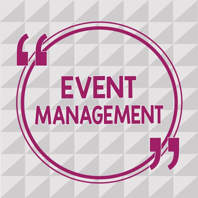 Σημείωση γραψίματος που παρουσιάζει διαχείριση γεγονότος Δημιουργία επίδειξης επιχειρησιακών φωτογραφιών και ανάπτυξη της δράσης  διανυσματική απεικόνιση