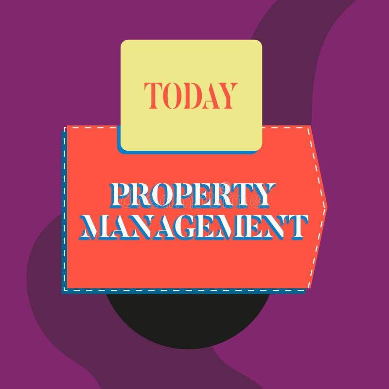 Σημείωση γραψίματος που παρουσιάζει διαχείριση ιδιοκτησίας Επιτήρηση επίδειξης επιχειρησιακών φωτογραφιών της συντηρημένης αξίας  διανυσματική απεικόνιση