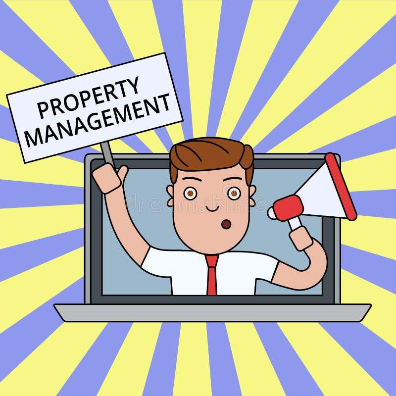 Σημείωση γραψίματος που παρουσιάζει διαχείριση ιδιοκτησίας Επιτήρηση επίδειξης επιχειρησιακών φωτογραφιών της συντηρημένης αξίας  απεικόνιση αποθεμάτων
