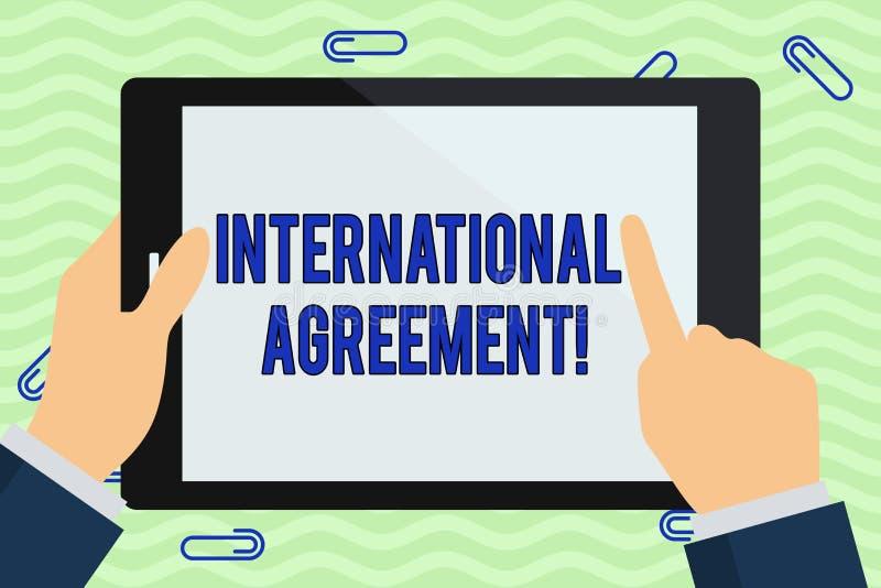 Σημείωση γραψίματος που παρουσιάζει διεθνή συμφωνία Το έγγραφο επίδειξης επιχειρησιακών φωτογραφιών που υπογράφεται από τις χώρες ελεύθερη απεικόνιση δικαιώματος