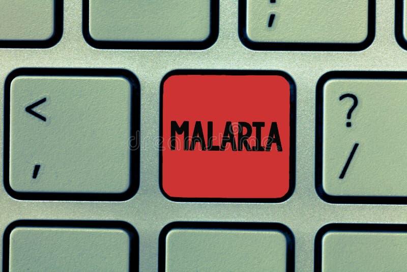 Σημείωση γραψίματος που παρουσιάζει ελονοσία Επιχειρησιακή φωτογραφία που επιδεικνύει τις απειλητικές για τη ζωή μεταδιδόμενες με στοκ φωτογραφίες