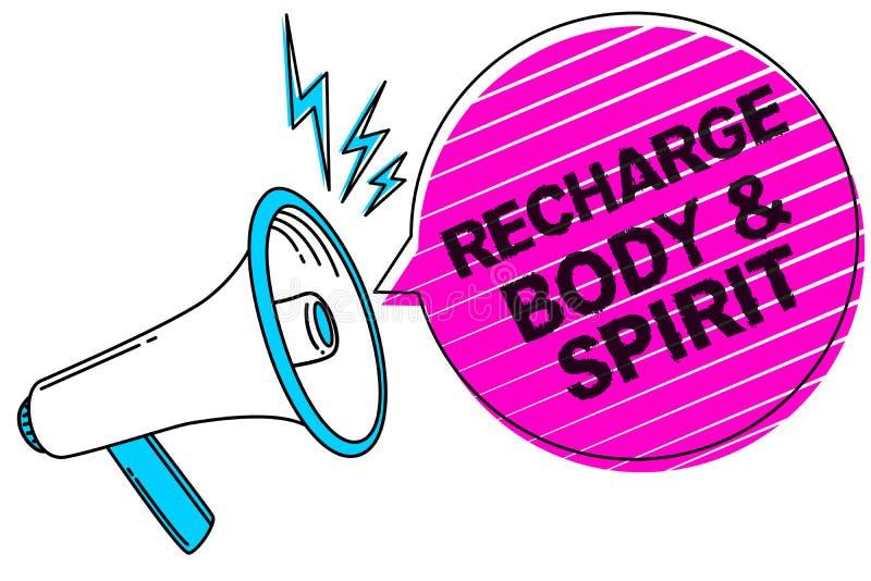 Σημείωση γραψίματος που παρουσιάζει επαναφόρτιση BodyandSpirit Η επίδειξη επιχειρησιακών φωτογραφιών γεμίζει την ενέργειά σας μέσ απεικόνιση αποθεμάτων