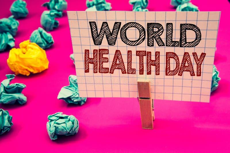 Σημείωση γραψίματος που παρουσιάζει ημέρα παγκόσμιας υγείας Επιχειρησιακή φωτογραφία που επιδεικνύει την ειδική ημερομηνία για τη στοκ εικόνες
