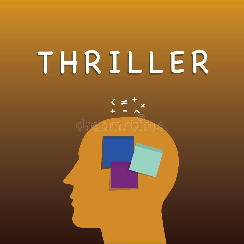 Σημείωση γραψίματος που παρουσιάζει θρίλλερ Επιχειρησιακή φωτογραφία που επιδεικνύει το νέα παιχνίδι ή την ταινία με τη διέγερση  ελεύθερη απεικόνιση δικαιώματος