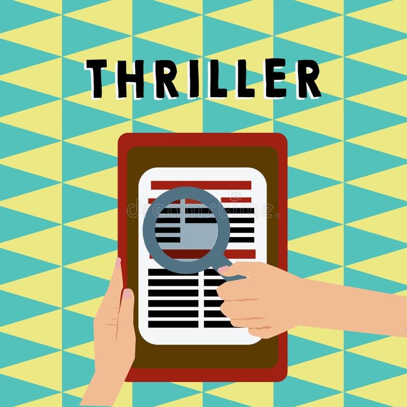 Σημείωση γραψίματος που παρουσιάζει θρίλλερ Επιχειρησιακή φωτογραφία που επιδεικνύει το νέα παιχνίδι ή την ταινία με τη διέγερση  διανυσματική απεικόνιση