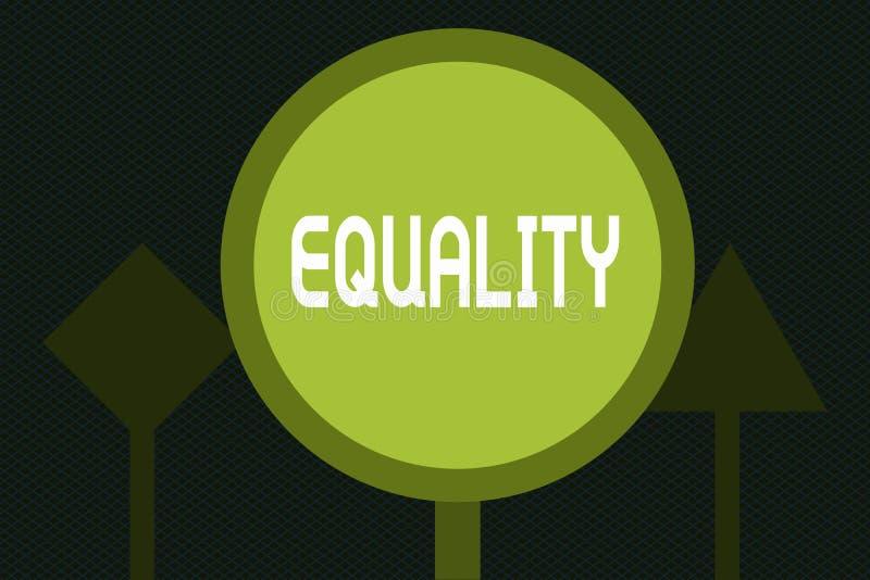 Σημείωση γραψίματος που παρουσιάζει ισότητα Επιδεικνύοντας κατάσταση επιχειρησιακών φωτογραφιών της ύπαρξης ίσος ειδικά στα δικαι απεικόνιση αποθεμάτων