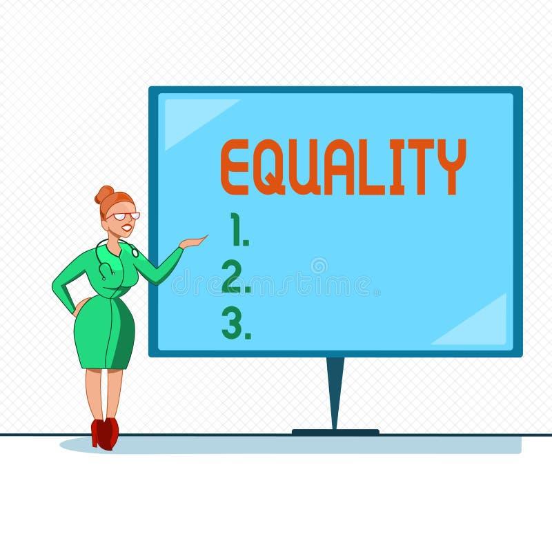 Σημείωση γραψίματος που παρουσιάζει ισότητα Επιδεικνύοντας κατάσταση επιχειρησιακών φωτογραφιών της ύπαρξης ίσος ειδικά στα δικαι ελεύθερη απεικόνιση δικαιώματος
