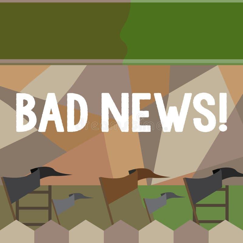 Σημείωση γραψίματος που παρουσιάζει κακές ειδήσεις Η επιχειρησιακή φωτογραφία που επιδεικνύει το ανεπιθύμητο πράγμα ή που καταδει ελεύθερη απεικόνιση δικαιώματος