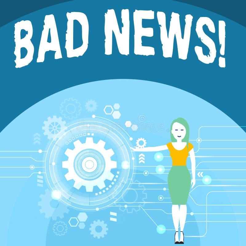 Σημείωση γραψίματος που παρουσιάζει κακές ειδήσεις Η επιχειρησιακή φωτογραφία που επιδεικνύει το ανεπιθύμητο πράγμα ή που καταδει απεικόνιση αποθεμάτων