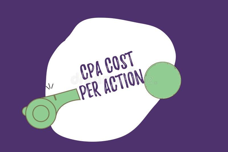 Σημείωση γραψίματος που παρουσιάζει κόστος Cpa ανά δράση Η επιδεικνύοντας Επιτροπή επιχειρησιακών φωτογραφιών πλήρωσε πότε ο χρήσ διανυσματική απεικόνιση