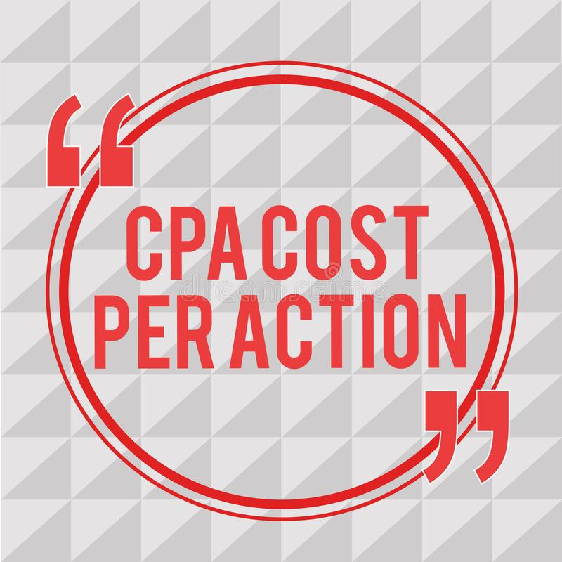 Σημείωση γραψίματος που παρουσιάζει κόστος Cpa ανά δράση Η επιδεικνύοντας Επιτροπή επιχειρησιακών φωτογραφιών πλήρωσε πότε ο χρήσ απεικόνιση αποθεμάτων