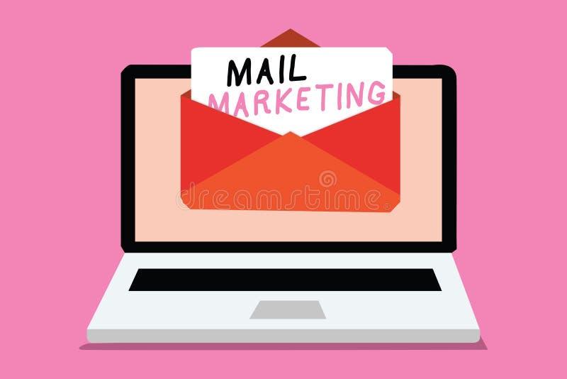 Σημείωση γραψίματος που παρουσιάζει μάρκετινγκ ταχυδρομείου Νόμος επίδειξης επιχειρησιακών φωτογραφιών της αποστολής ενός εμπορικ απεικόνιση αποθεμάτων