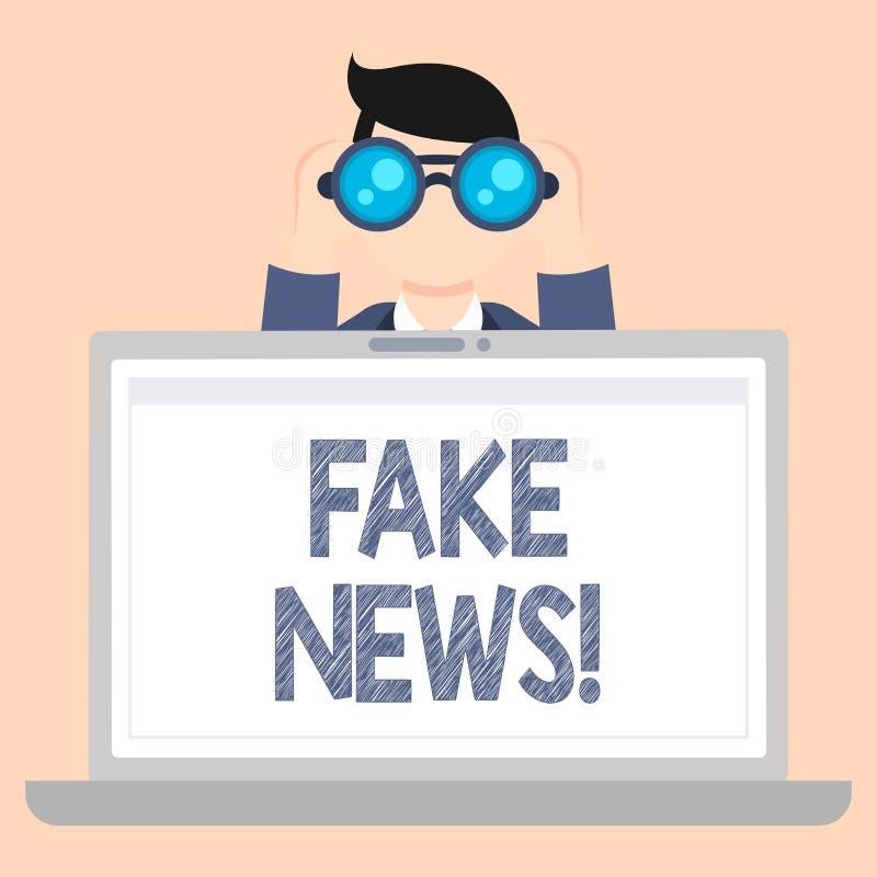 Σημείωση γραψίματος που παρουσιάζει πλαστές ειδήσεις Επιχειρησιακή φωτογραφία που επιδεικνύει τις ψεύτικες ιστορίες που εμφανίζον απεικόνιση αποθεμάτων