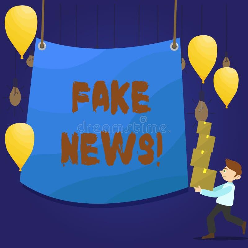 Σημείωση γραψίματος που παρουσιάζει πλαστές ειδήσεις Επιχειρησιακή φωτογραφία που επιδεικνύει τις ψεύτικες ιστορίες που εμφανίζον διανυσματική απεικόνιση