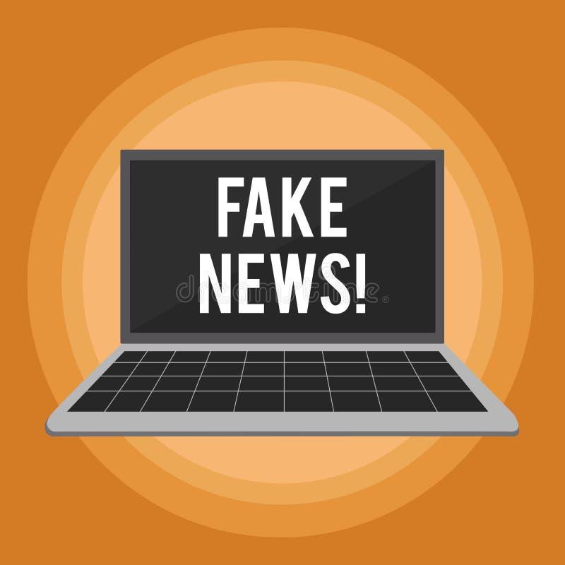 Σημείωση γραψίματος που παρουσιάζει πλαστές ειδήσεις Επιχειρησιακή φωτογραφία που επιδεικνύει τις ψεύτικες ιστορίες που εμφανίζον ελεύθερη απεικόνιση δικαιώματος