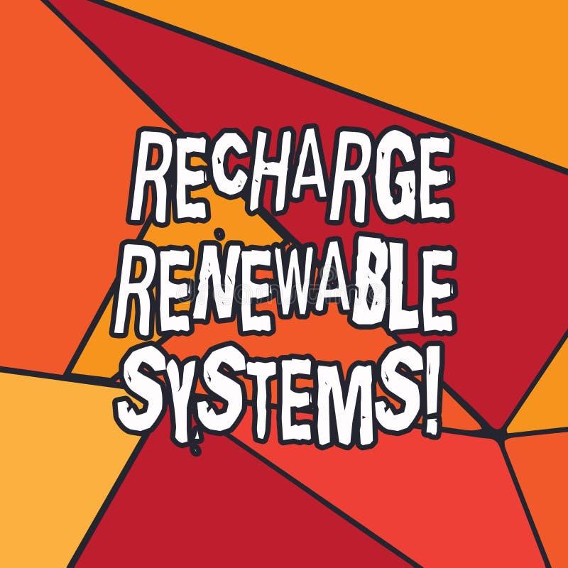 Σημείωση γραψίματος που παρουσιάζει στην επαναφόρτιση ανανεώσιμα συστήματα Επιχειρησιακή φωτογραφία που επιδεικνύει την καθαρή κα διανυσματική απεικόνιση