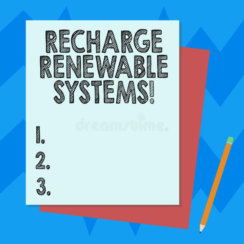 Σημείωση γραψίματος που παρουσιάζει στην επαναφόρτιση ανανεώσιμα συστήματα Επιχειρησιακή φωτογραφία που επιδεικνύει την καθαρή κα ελεύθερη απεικόνιση δικαιώματος