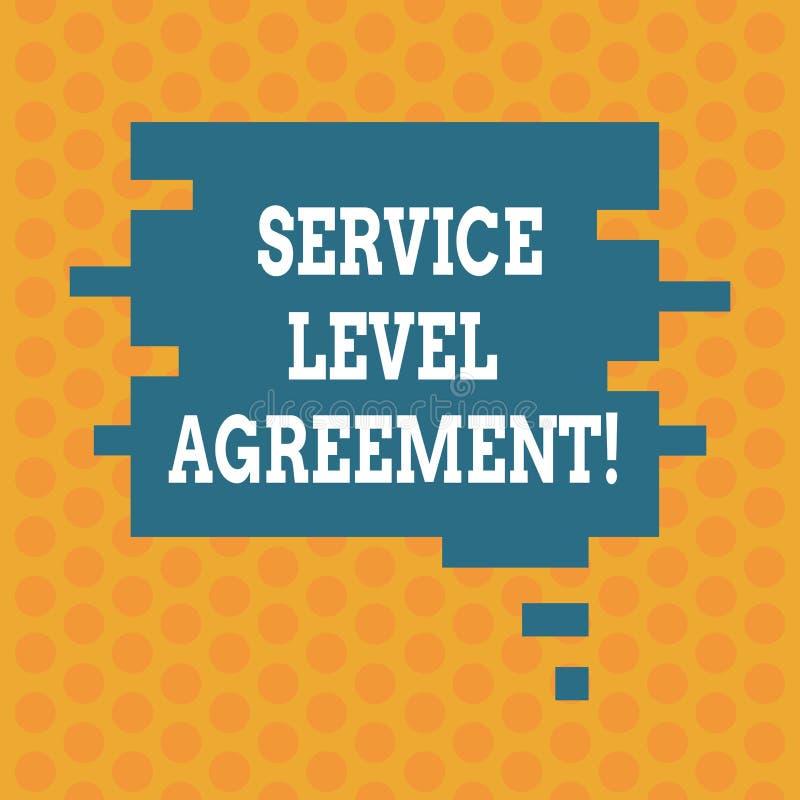 Σημείωση γραψίματος που παρουσιάζει συμφωνία επιπέδων εξυπηρέτησης Υποχρέωση επίδειξης επιχειρησιακών φωτογραφιών μεταξύ ενός φορ διανυσματική απεικόνιση