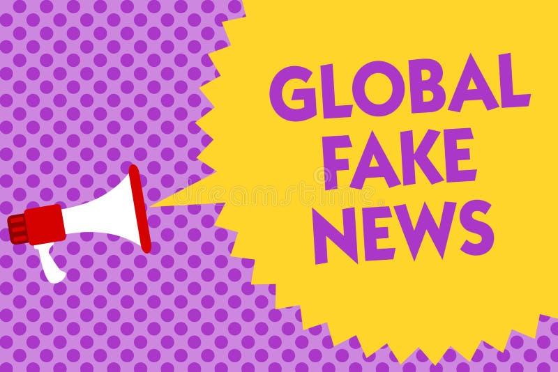 Σημείωση γραψίματος που παρουσιάζει σφαιρικές πλαστές ειδήσεις Η επιχειρησιακή φωτογραφία που επιδεικνύει την ψεύτικη δημοσιογραφ απεικόνιση αποθεμάτων