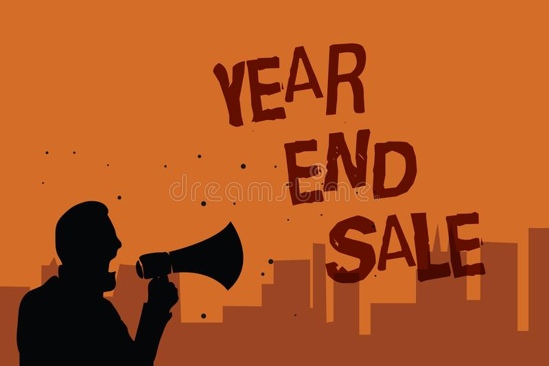 Σημείωση γραψίματος που παρουσιάζει το έτος και πώληση Επιχειρησιακή φωτογραφία που επιδεικνύει την ετήσια εκπτώσεων διακοπών περ διανυσματική απεικόνιση