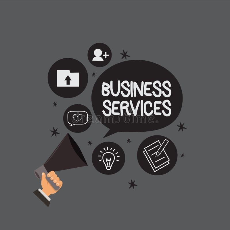 Σημείωση γραψίματος που παρουσιάζει υπηρεσίες επιχείρησης Η επίδειξη επιχειρησιακών φωτογραφιών παρέχει την άυλη λογιστική ΤΠ λογ ελεύθερη απεικόνιση δικαιώματος