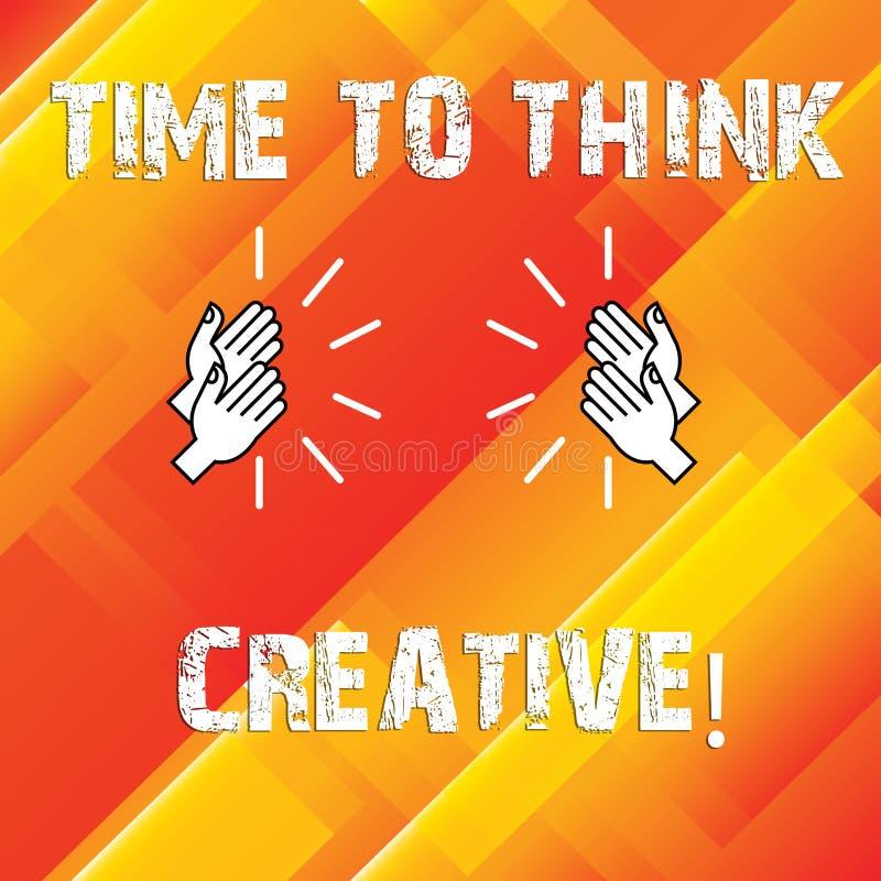 Σημείωση γραψίματος που παρουσιάζει χρόνο να σκεφτεί δημιουργικός Αρχικές ιδέες δημιουργικότητας επίδειξης επιχειρησιακών φωτογρα ελεύθερη απεικόνιση δικαιώματος