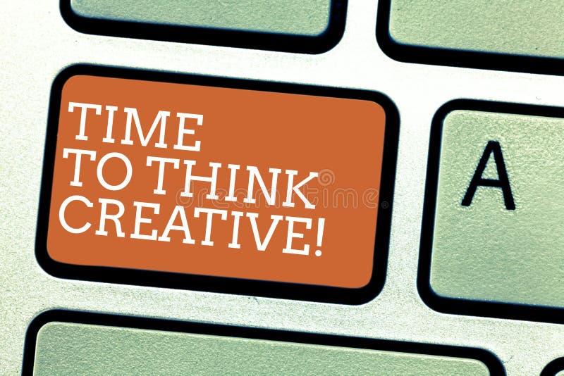 Σημείωση γραψίματος που παρουσιάζει χρόνο να σκεφτεί δημιουργικός Αρχικές ιδέες δημιουργικότητας επίδειξης επιχειρησιακών φωτογρα διανυσματική απεικόνιση