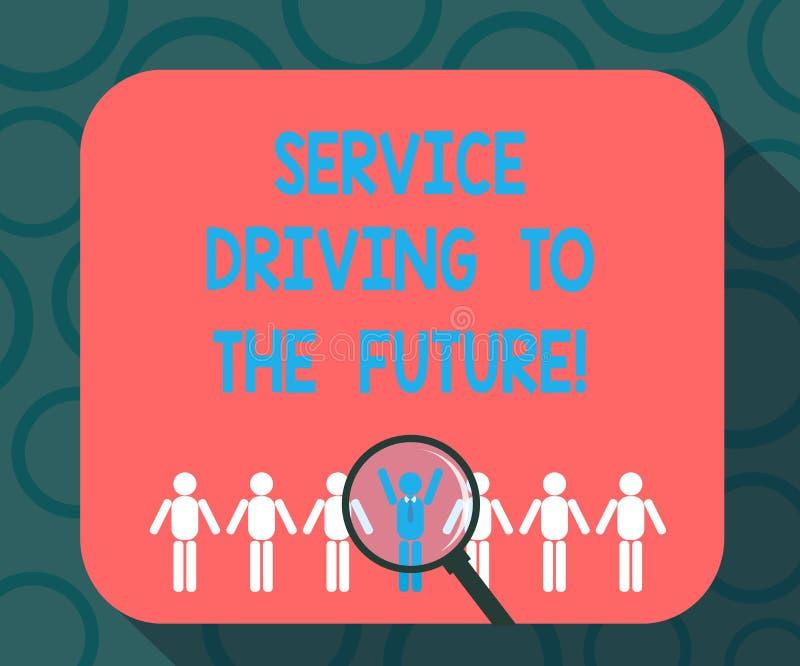 Σημείωση γραψίματος που παρουσιάζει Drive υπηρεσιών στο μέλλον Επιχειρησιακή φωτογραφία που επιδεικνύει τις σύγχρονες υπηρεσίες β απεικόνιση αποθεμάτων